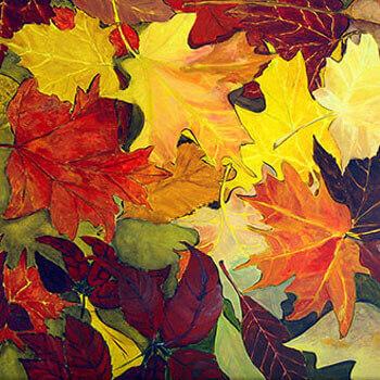 ציור עלים בסתיו