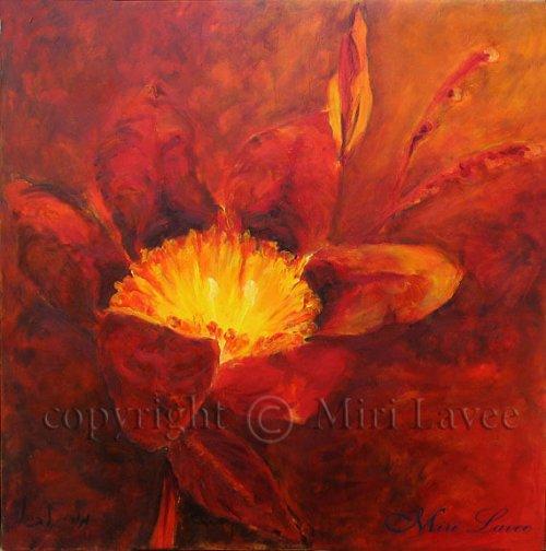 ציור פרח אדום וצהוב לסלון