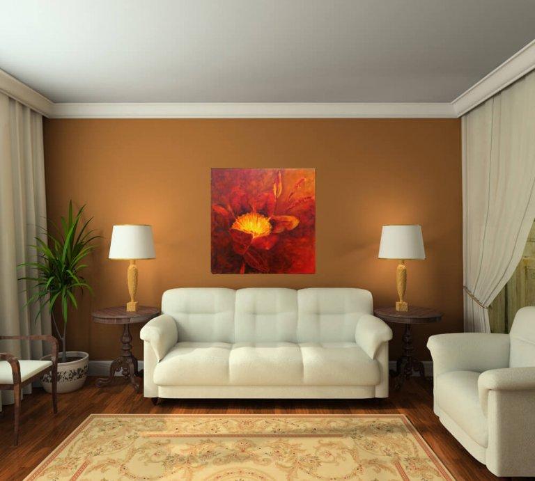ציור פרח, ציור מרובע לסלון