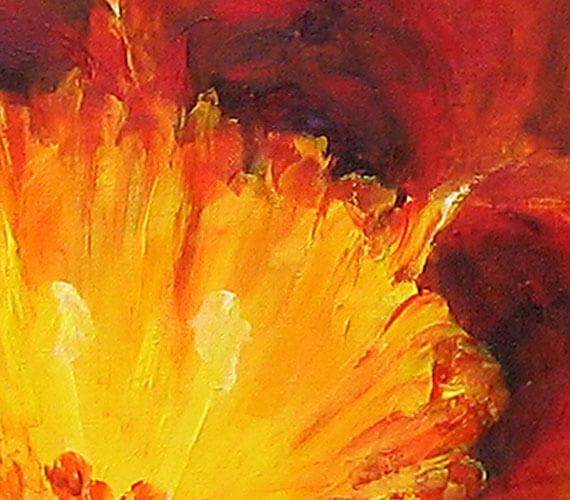 ציור פרח של אור בצהוב ואדום