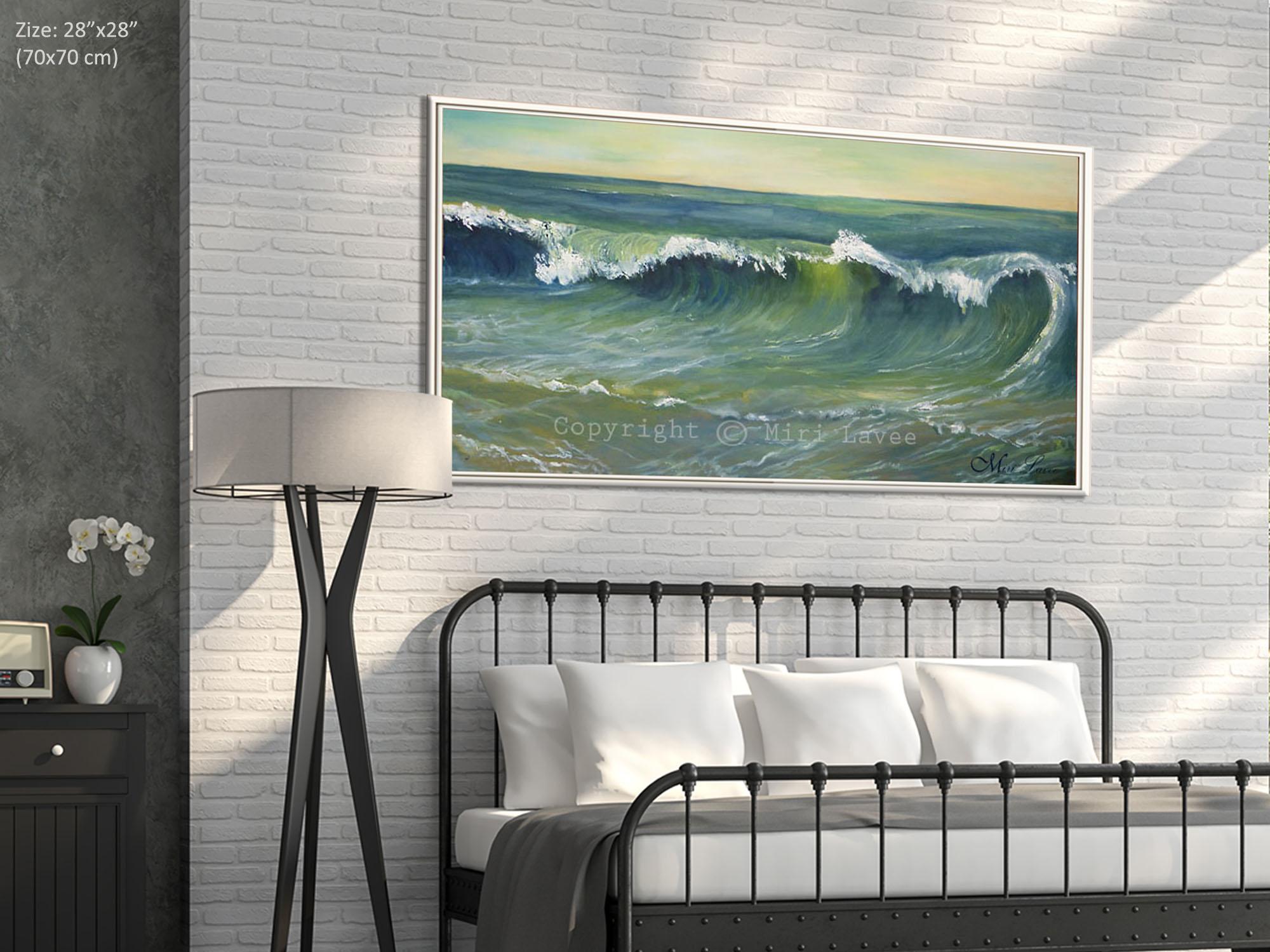 ציור ים כחול וירוק לחדר שינה