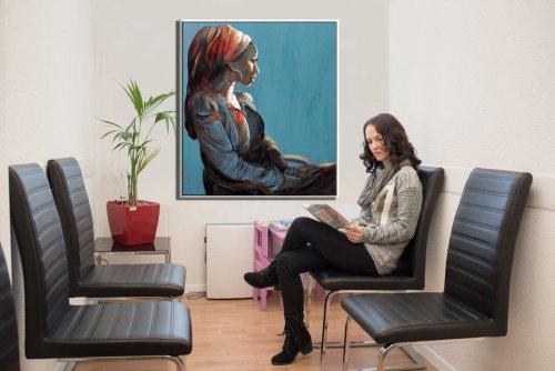 תמונת אישה למשרד. הדפס על פי ציור מקורי