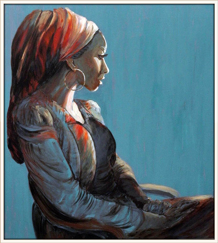ציור כחול של אישה עם מטפחת על ידי מירי לביא