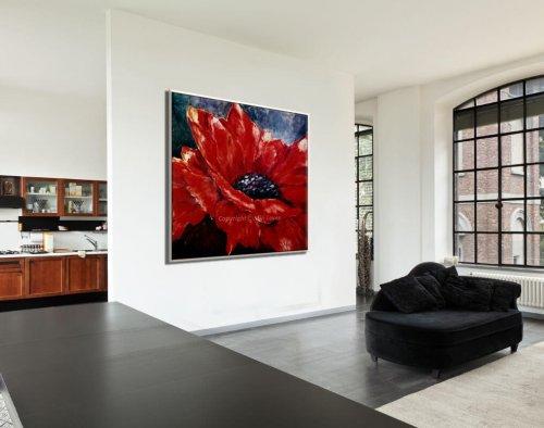 ציור פרח גדול של כלנית אדומה לסלון