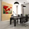 ציור גדול של פרגים למשרד