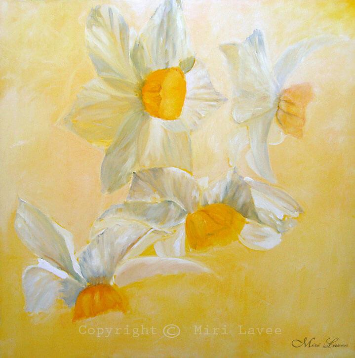 ציור פרחים נרקיסים