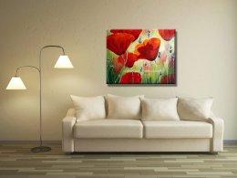 ציור פרחים בסלון לבן