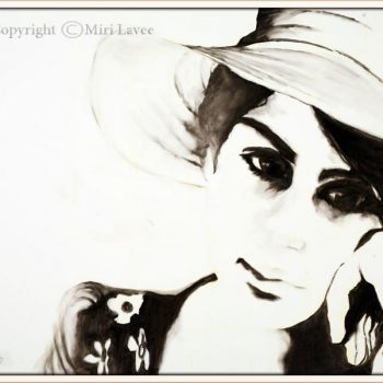 black-and-white-painting-of-girl-by-miri-lavee