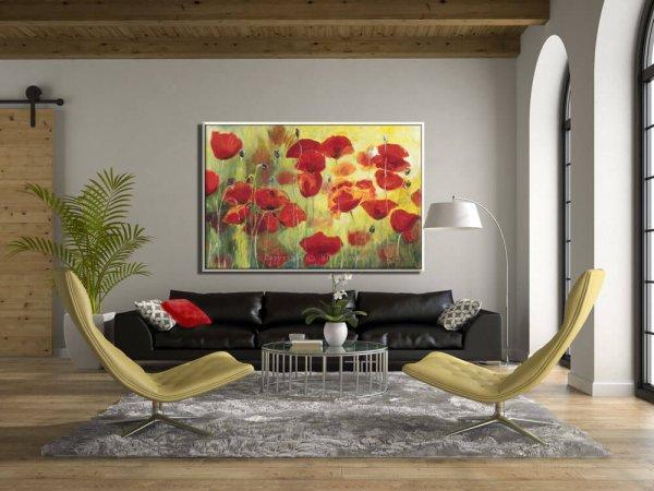 ציור פרגים גדול לסלון