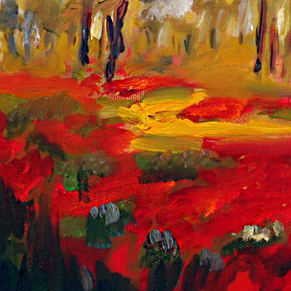 ציור נוף כלניות בנגב, דרום אדום