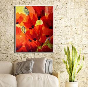 ציור פרחים, שדה פרגים באדום וצהוב