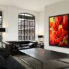ציור פרחים גדול לסלון