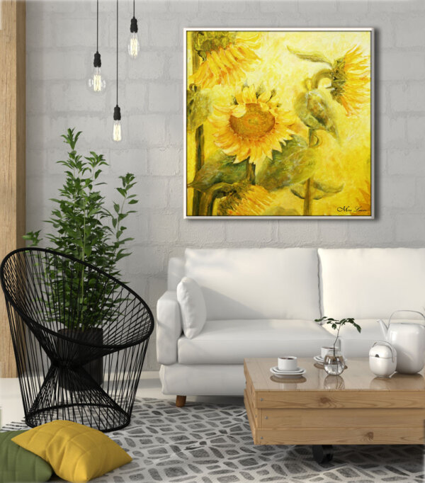 ציור חמניות גדול לבית