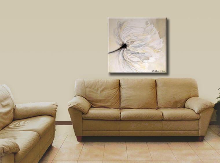 ציור פרח לבן לסלון