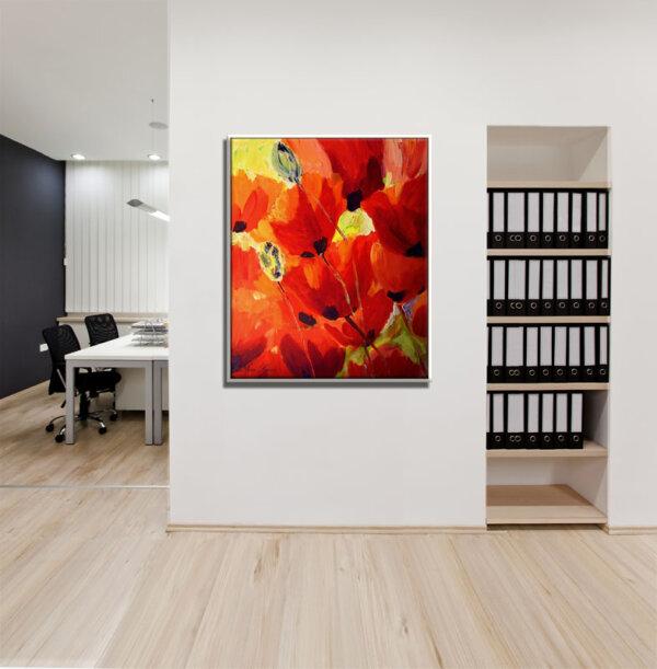 ציור נוף פרחים למשרד