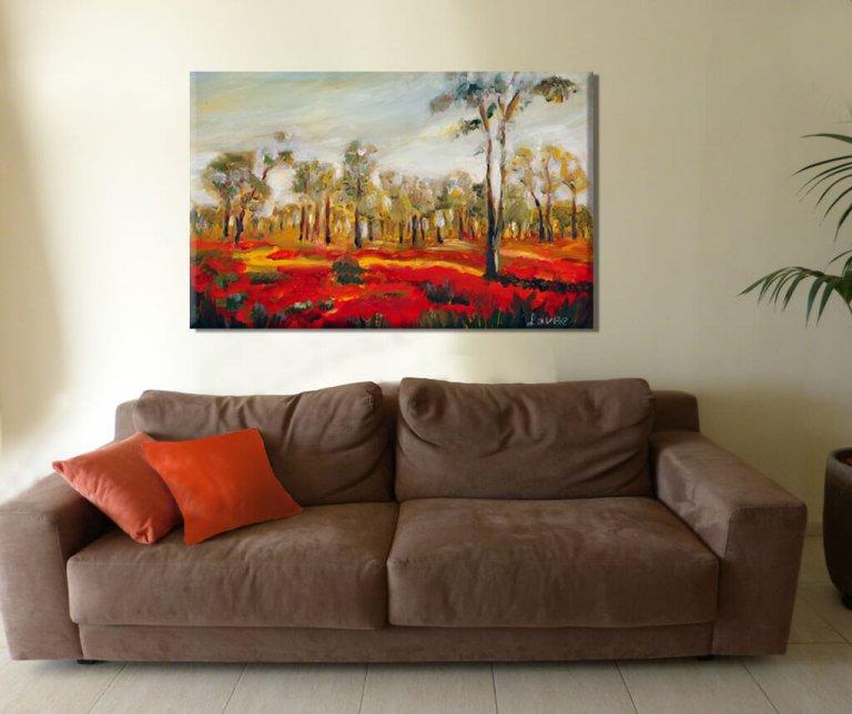 ציור נוף כלניות אדומות