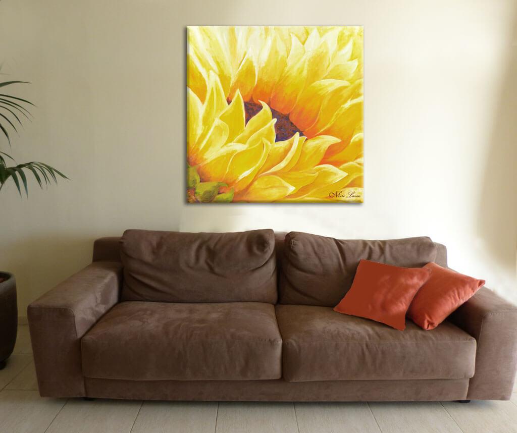 ציור חמנייה צהובה לסלון