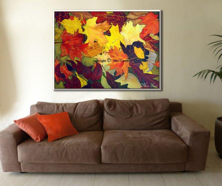 ציור אוריגינלי צבעוני מלא שמחה של עלים בסתיו בצבעי שלכת, ציירת מירי לביא.