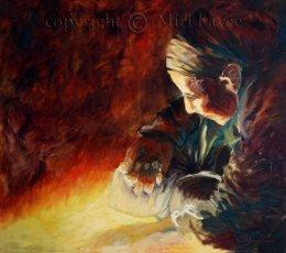 ציור אישה עם מטפחת