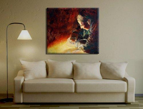 ציור אישה עם מטפחת. תמונה מעל הספה