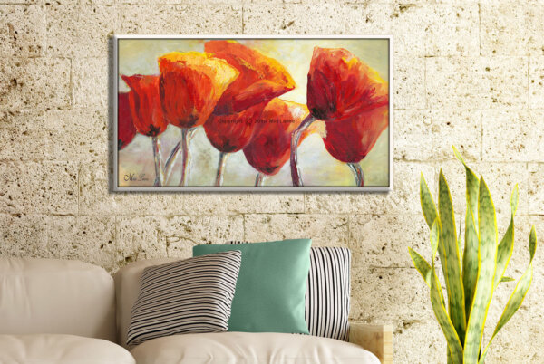 ציור פרגים באור השמש לסלון