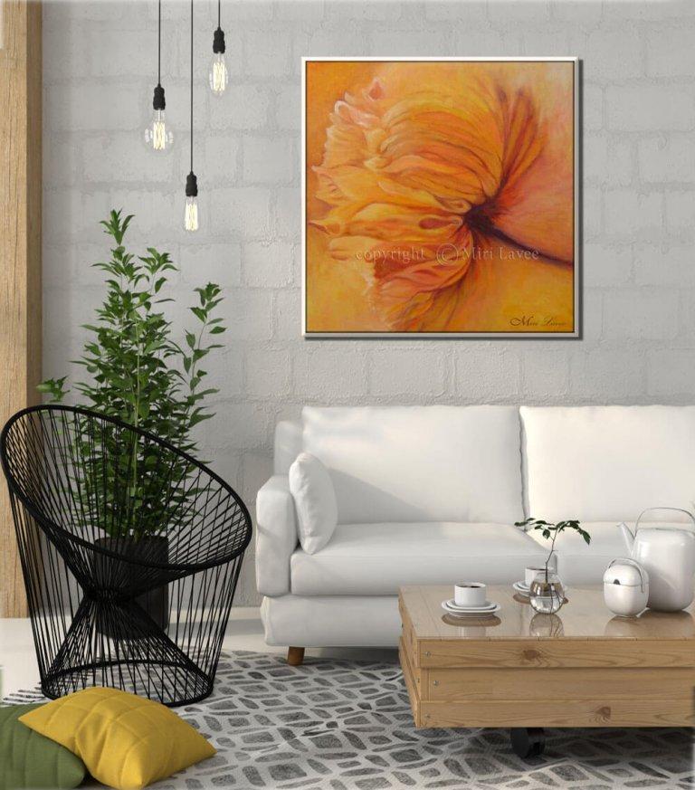 ציור פרח מופשט לסלון, מירי לביא