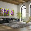 ציור פרחים סט של 3 חלקים ציירת מירי לביא