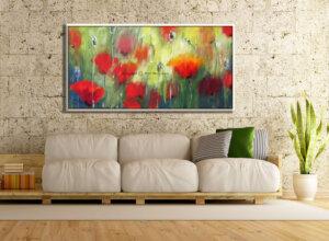 ציור פרחים, ציור פרגים גדול לסלון